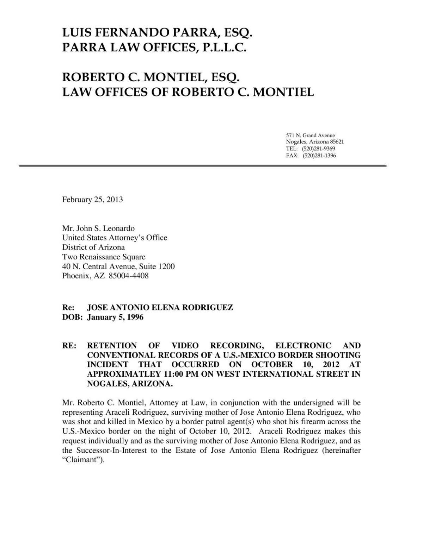 Preservation of evidence letter     nogalesinternational.com