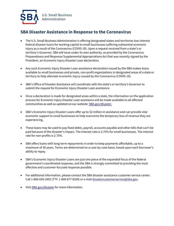 SBA Disaster Assistance Handout