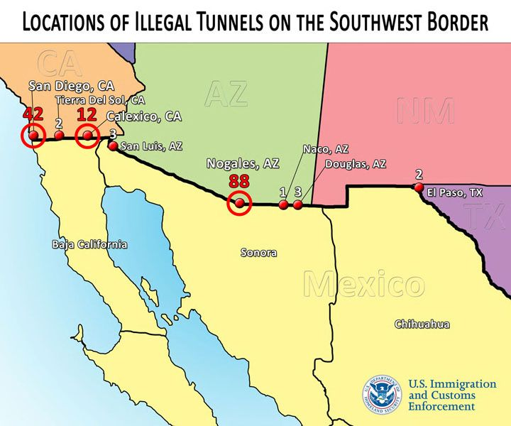 Nogales Is Site Of Majority Of Border Tunnels Local News Stories - Us map of southwestern border