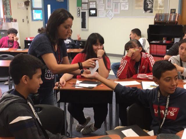 Lisa Monge and students