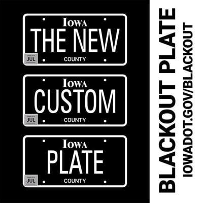 Iowa blackout license plate design