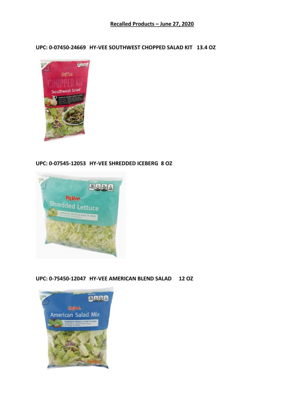 HyVee salad recall list
