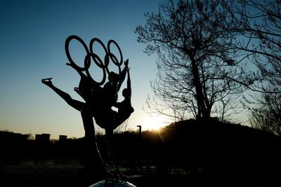 A sculpture depicts Olympic figure skaters for the 2022 Beijing Winter Olympics at Shougang Park on December 16, 2020, in Beijing.