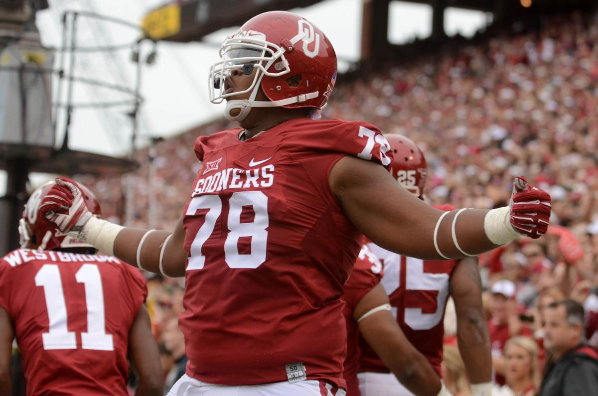 Former Oklahoma left tackle Orlando Brown celebrates a touchdown during the  Sooners  game against Texas Tech d5bda8a11