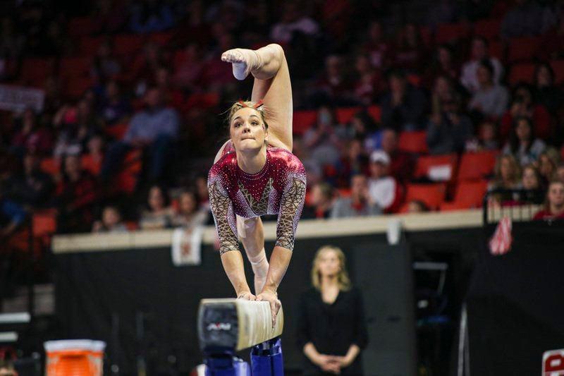 OU women's gymnastics: Maggie Nichols adds two more 10s as Oklahoma dominates West Virginia, TWU
