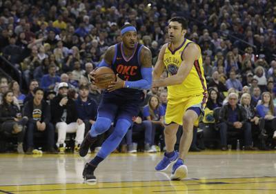 0a3e5fc6b Thunder Warriors Basketball. Oklahoma City Thunder s Carmelo Anthony ...