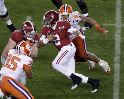 CFP National Championship Clemson Alabama Football. Alabama s Jalen Hurts  ... c1ba92a48