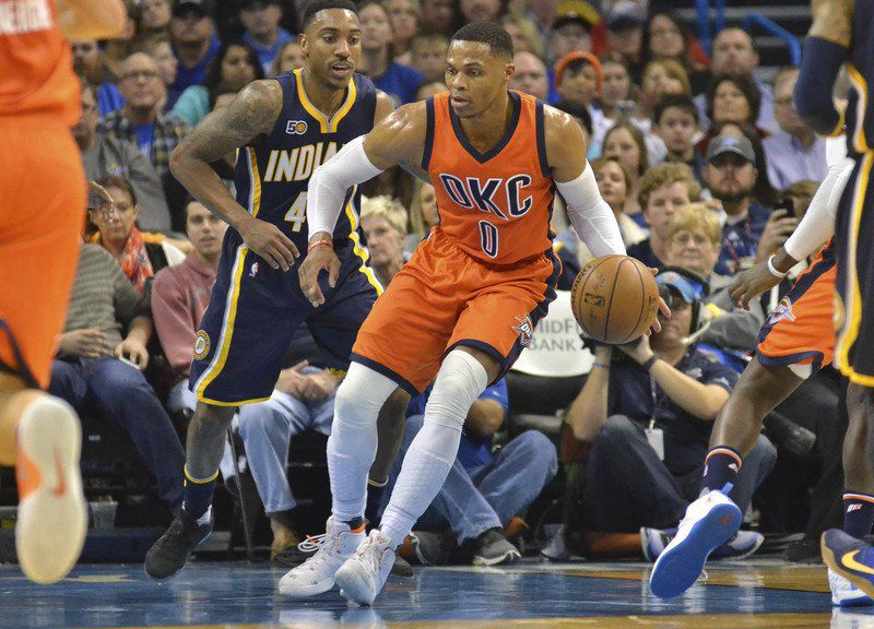 New Thunder teammates Westbrook, George working out together