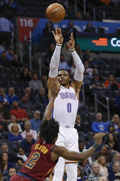 f311d9d676c THUNDER  Epic Westbrook performance fires OKC past Cleveland ...