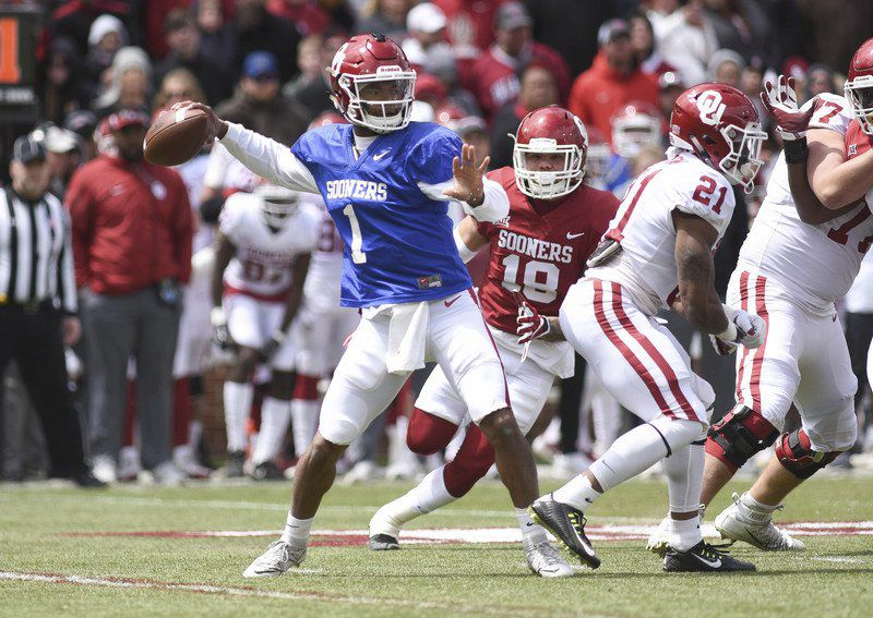 05349151739 Conference quarterback picture will lack clarity until the fall. OU  quarterback Kyler Murray passes the ball during ...
