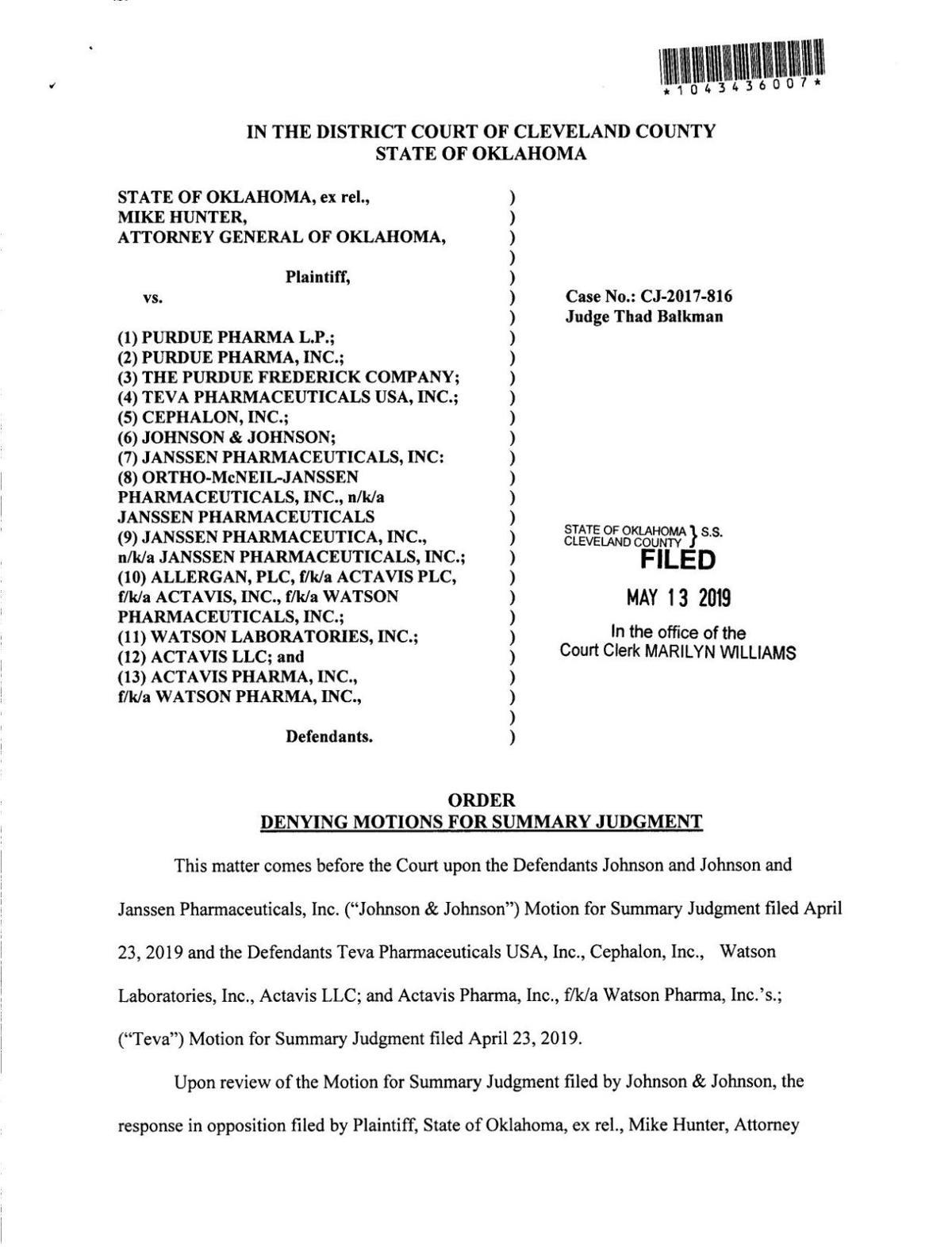 Summary judgment order