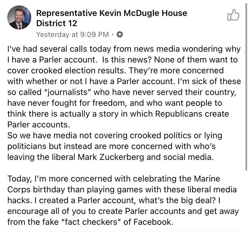 Updated Conservatives Flocking To Parler Platform News Normantranscript Com
