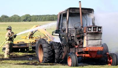 Tractor catches fire north near Hall School