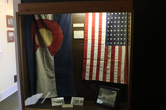 Flags that flew over burial site
