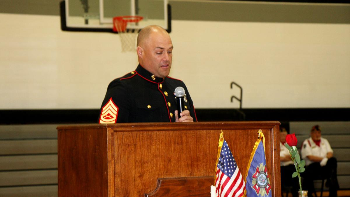 'Debt that cannot be repaid': Marine Veteran thanks all veterans at Maywood Public Schools' Veterans Day ceremony
