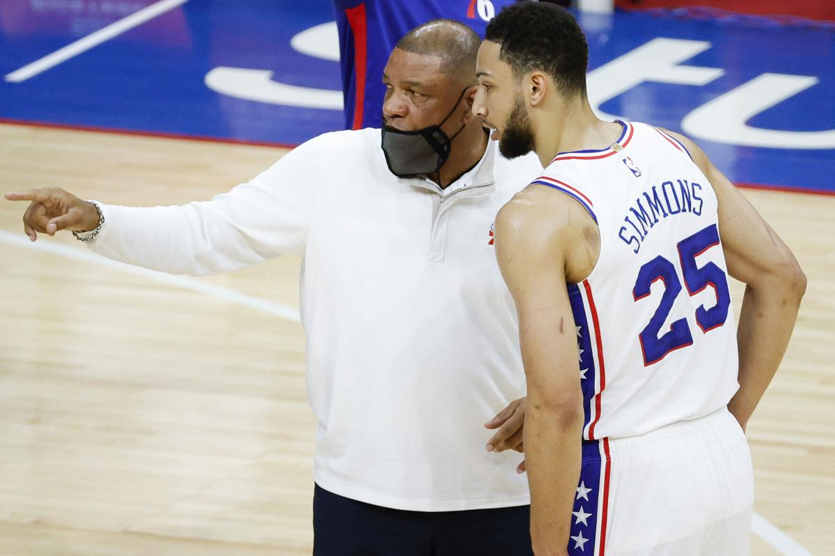 Philadelphia 76 ers head coach Doc Rivers speaks with Ben Simmons during action against the Atlanta Hawks at Wells Fargo Center on April 28, 2021 in Philadelphia.
