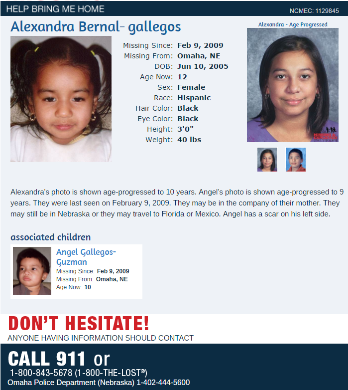 Updated: Gallery of Nebraska's Missing Children: Have you