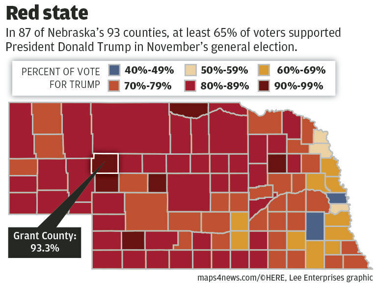 Trump support in Nebraska