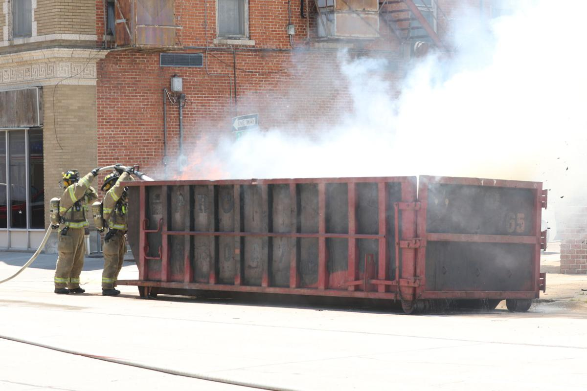 Dumpster catches fire in downtown North Platte