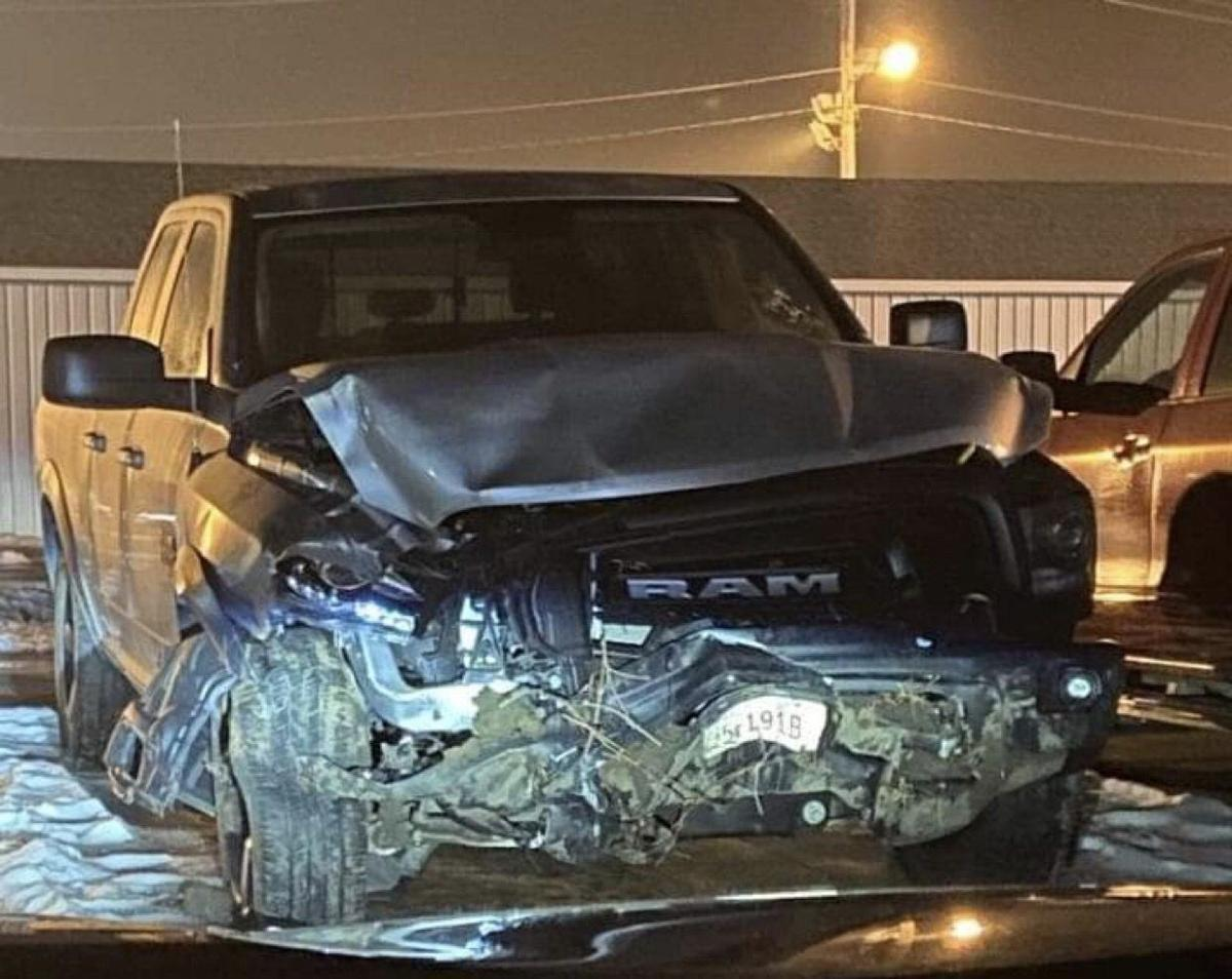Dodge County Attorney Oliver Glass's truck after a December crash
