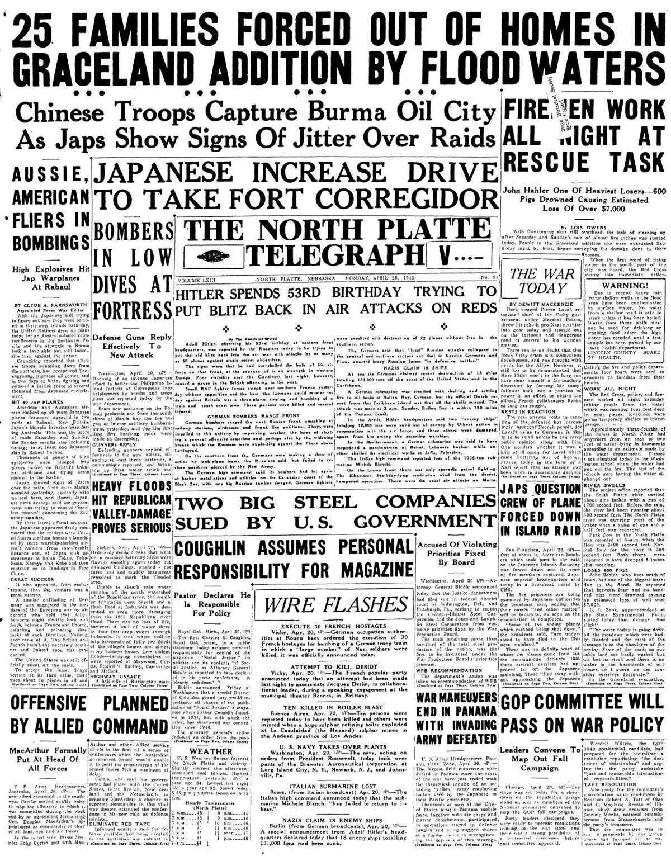 Front page, NPT, on S Platte River floods