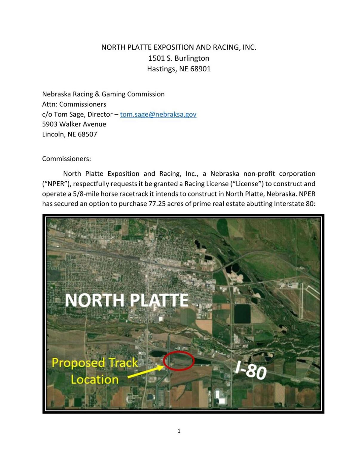 NP Exposition and Racing Inc.'s race track proposal