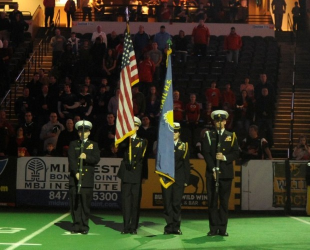 Bloom Trail color guard performs for arena football team