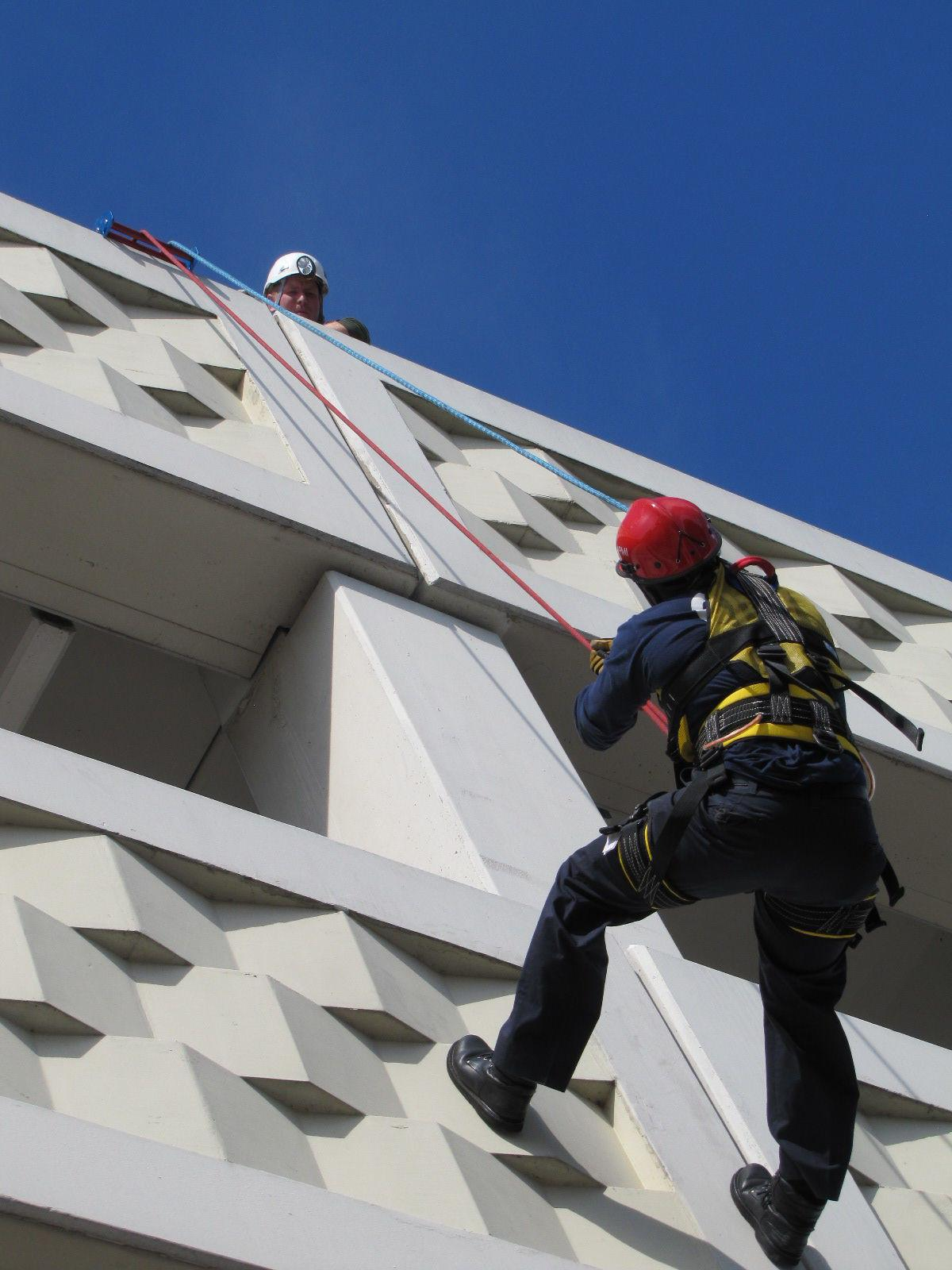 Firefighters learn the ropes of high-rise rescue
