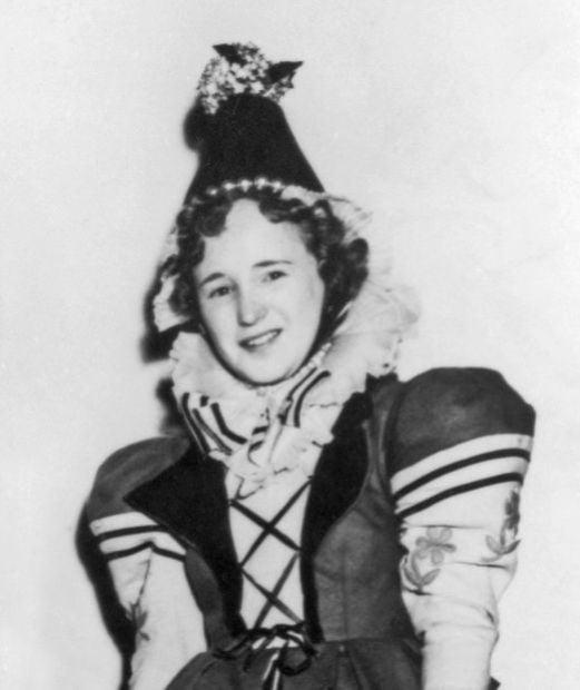 "Munchkin Ruth Duccini in her Munchkin Townswoman Costume in ""The Wizard of Oz"""