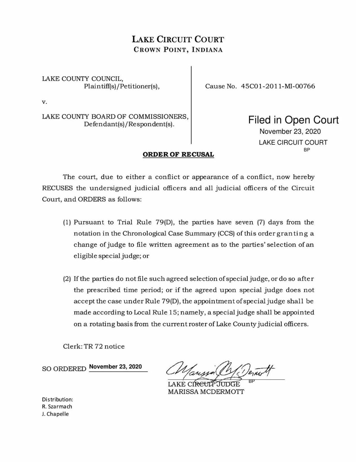 Judge McDermott recusal in Lake County Council v. Lake County Commissioners