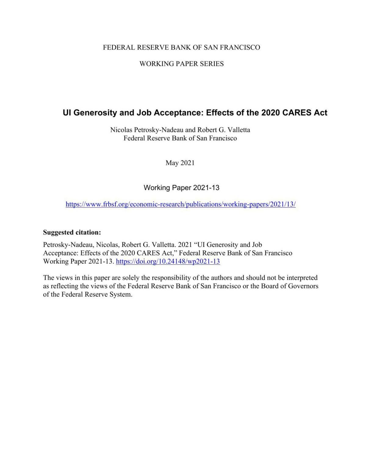 UI Generosity and Job Acceptance: Effects of the 2020 CARES Act
