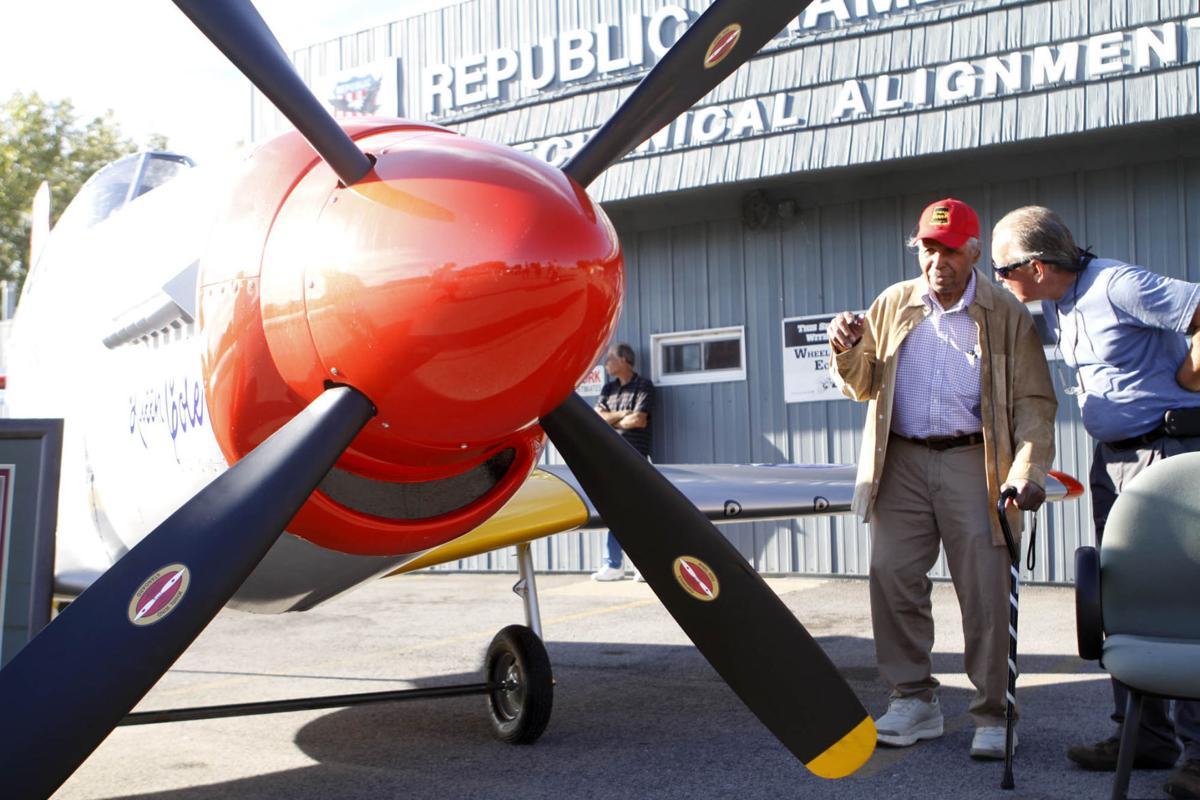 Tuskegee Airmen fighter plane soars above Gary Aquatorium