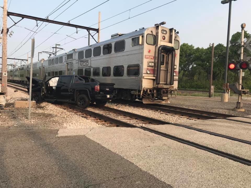 Truck collides with South Shore train near Portage