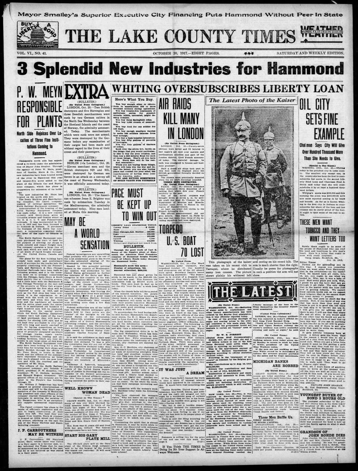 Oct. 20, 1917: 3 Splendid New Industries for Hammond