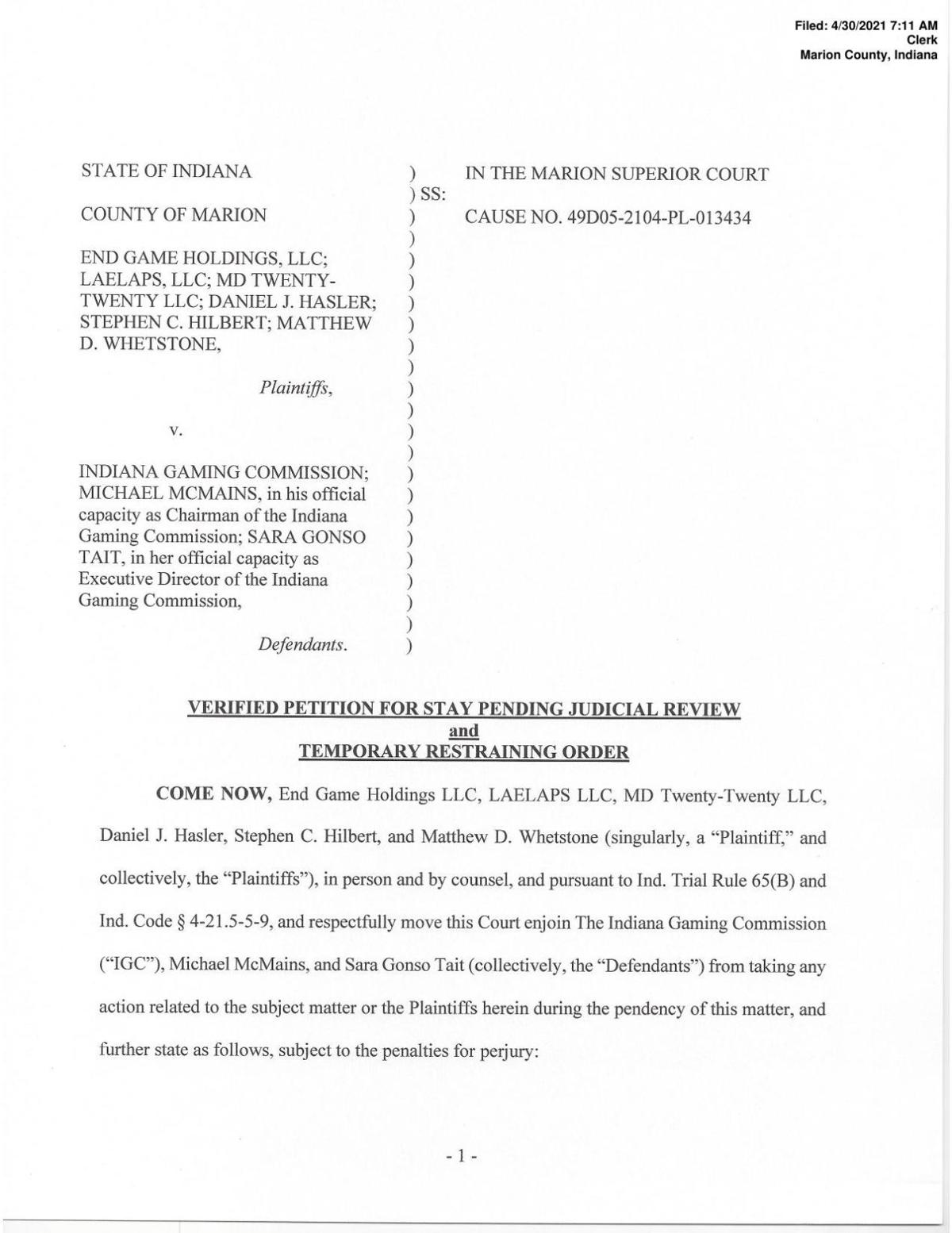 Petition for restraining order in End Game Holdings v. Indiana Gaming Commission