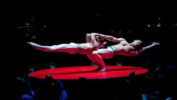 """The Bodyguards aka Polish Muscle Men Duo Vector Astound in the Stage Tent Show """"Absinthe"""" at Caesars Palace in Las Vegas"""
