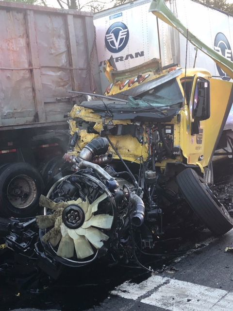 Truck driver said he did not see stopped traffic before plowing into other vehicles