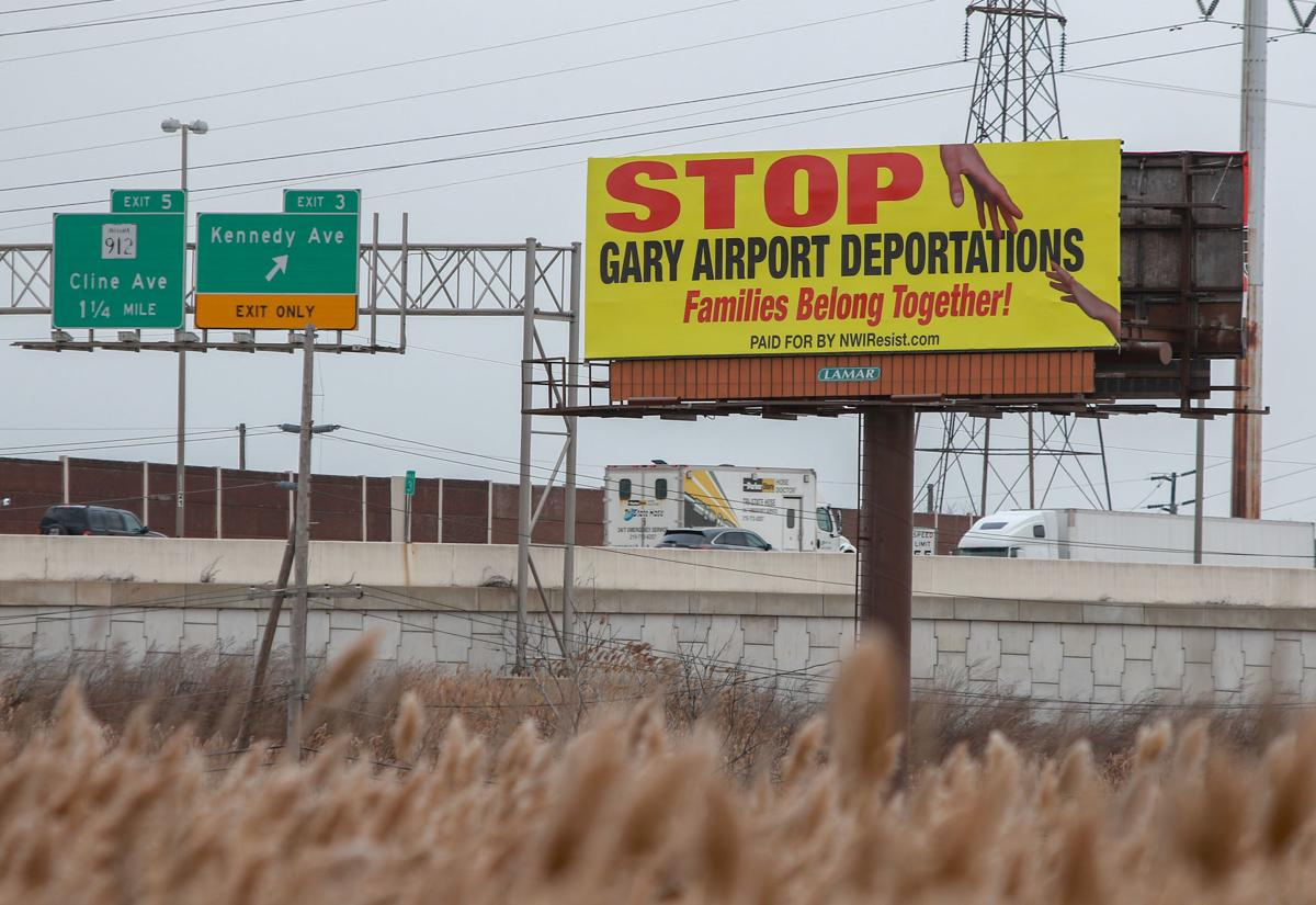 NWI Resist group recently raised enough money to erect a billboard along 80/94 protesting the deportations at the Gary airport.