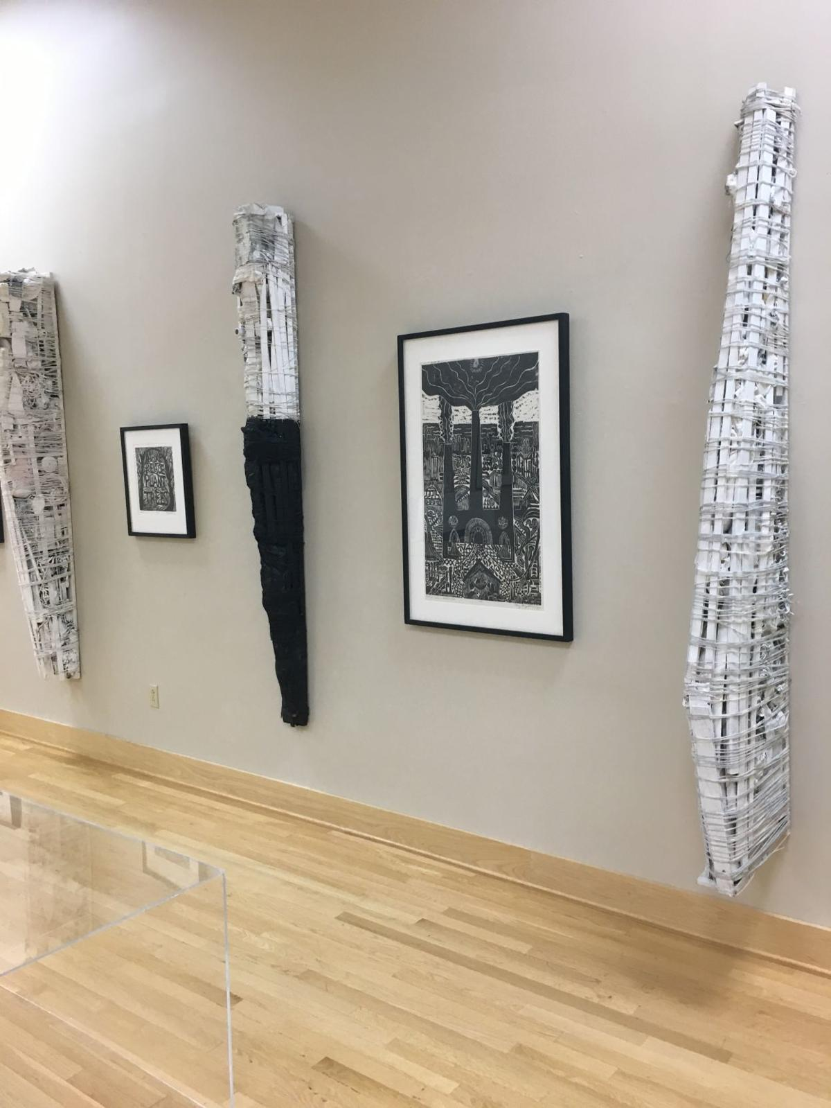 Corey Hagelberg exhibiting woodcuts and sculpture at Brauer Museum solo show