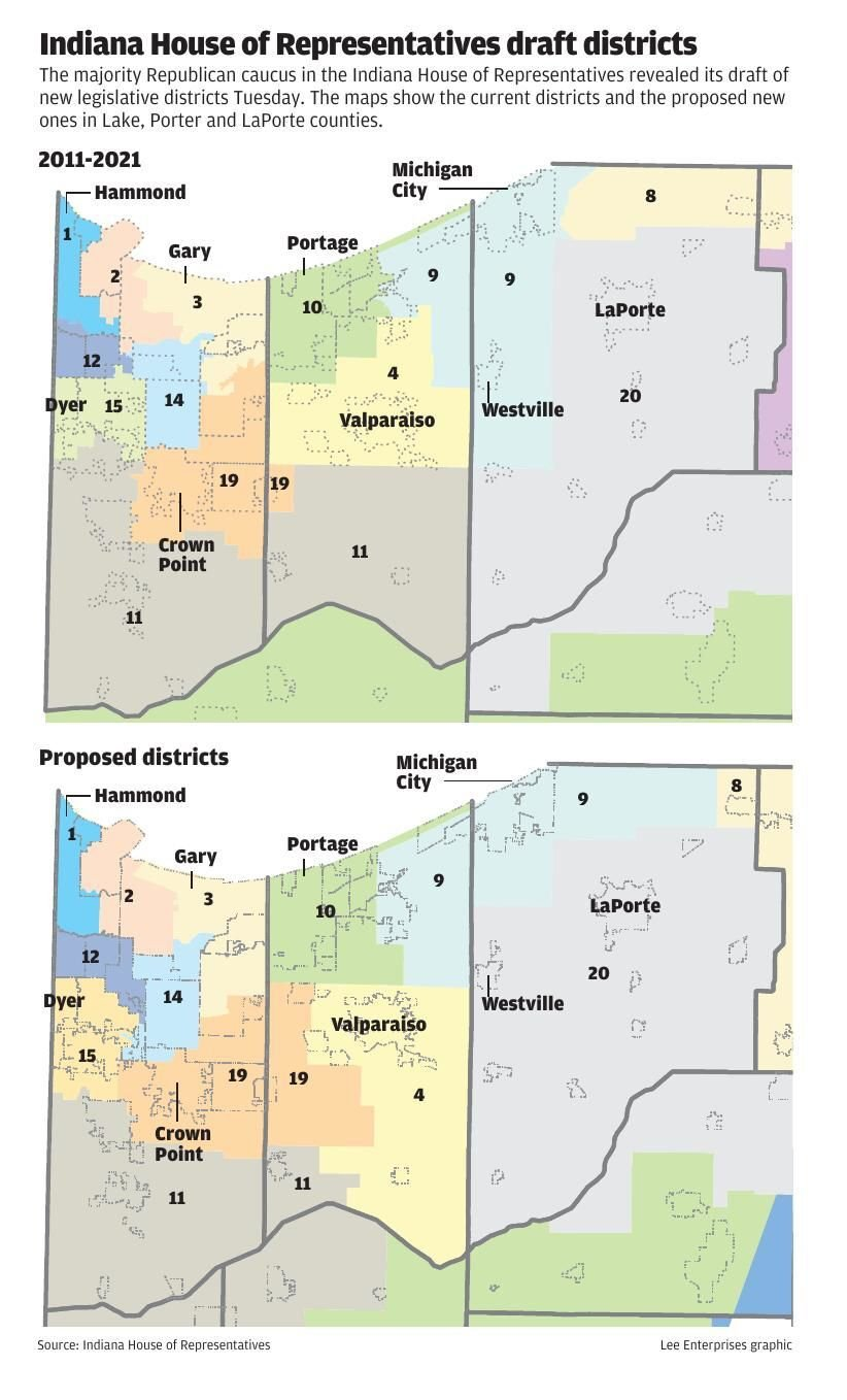 Proposed Indiana House district map