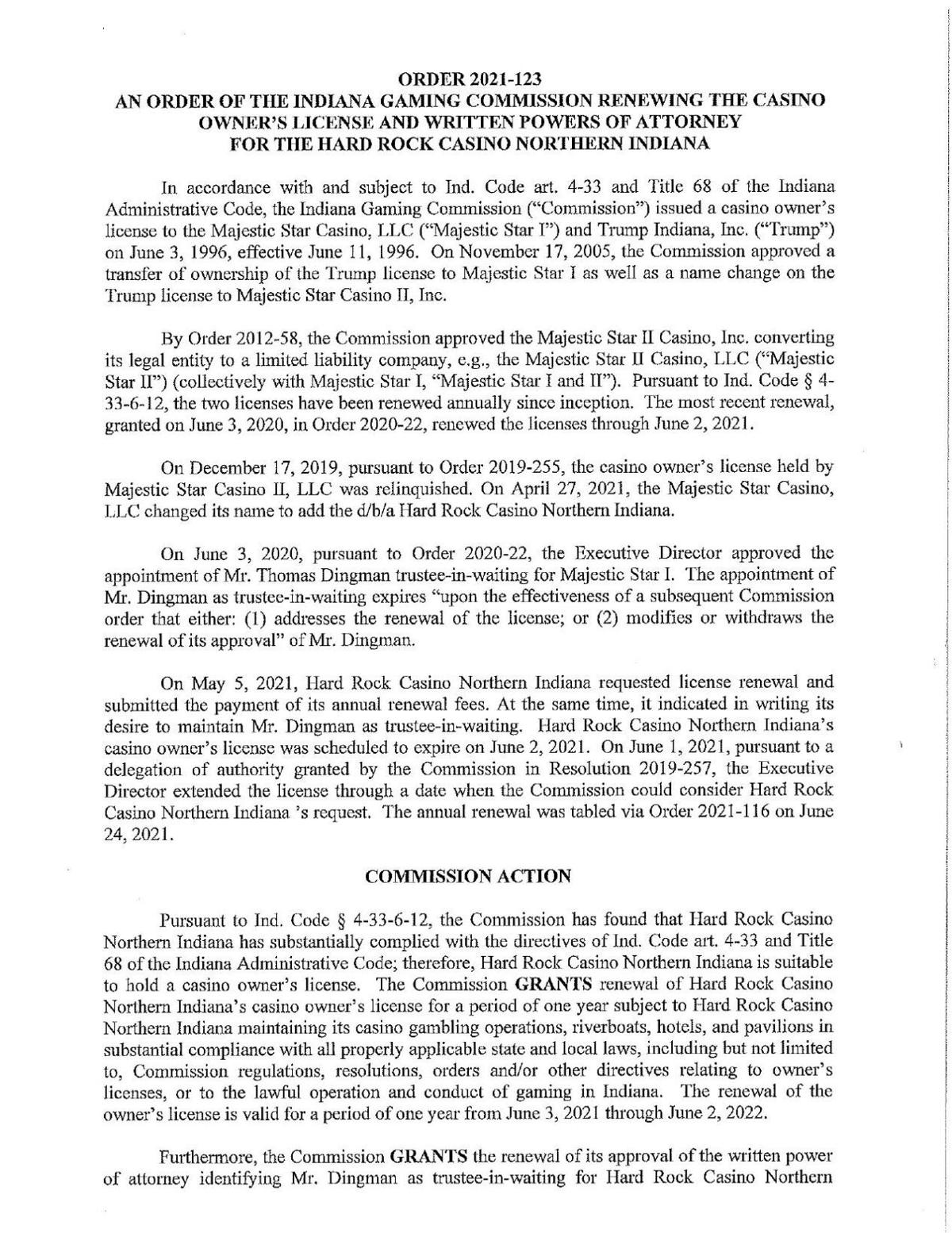Hard Rock Casino license renewal order of the Indiana Gaming Commission