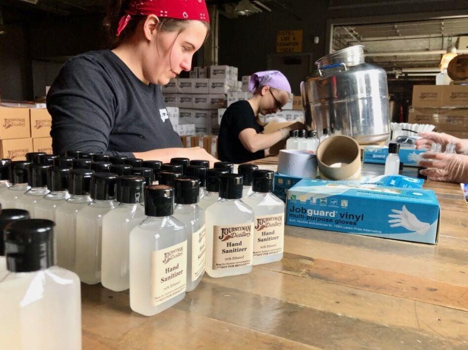 Journeyman Distillery gave out hundreds of bottles of hand sanitizer