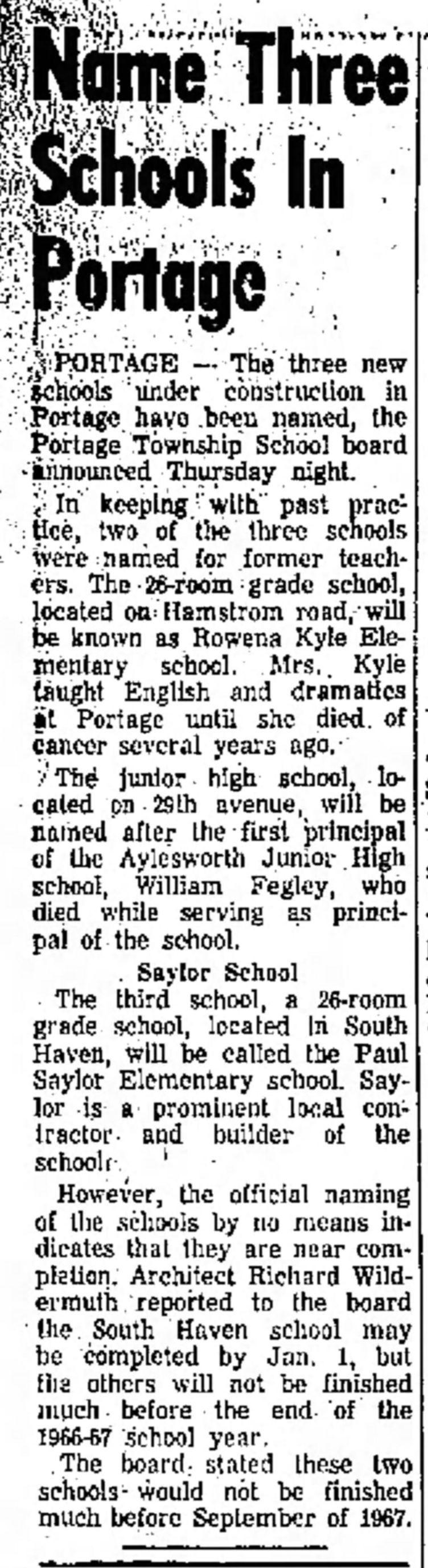 Saylor Elementary School.