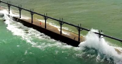Children almost swept from pier