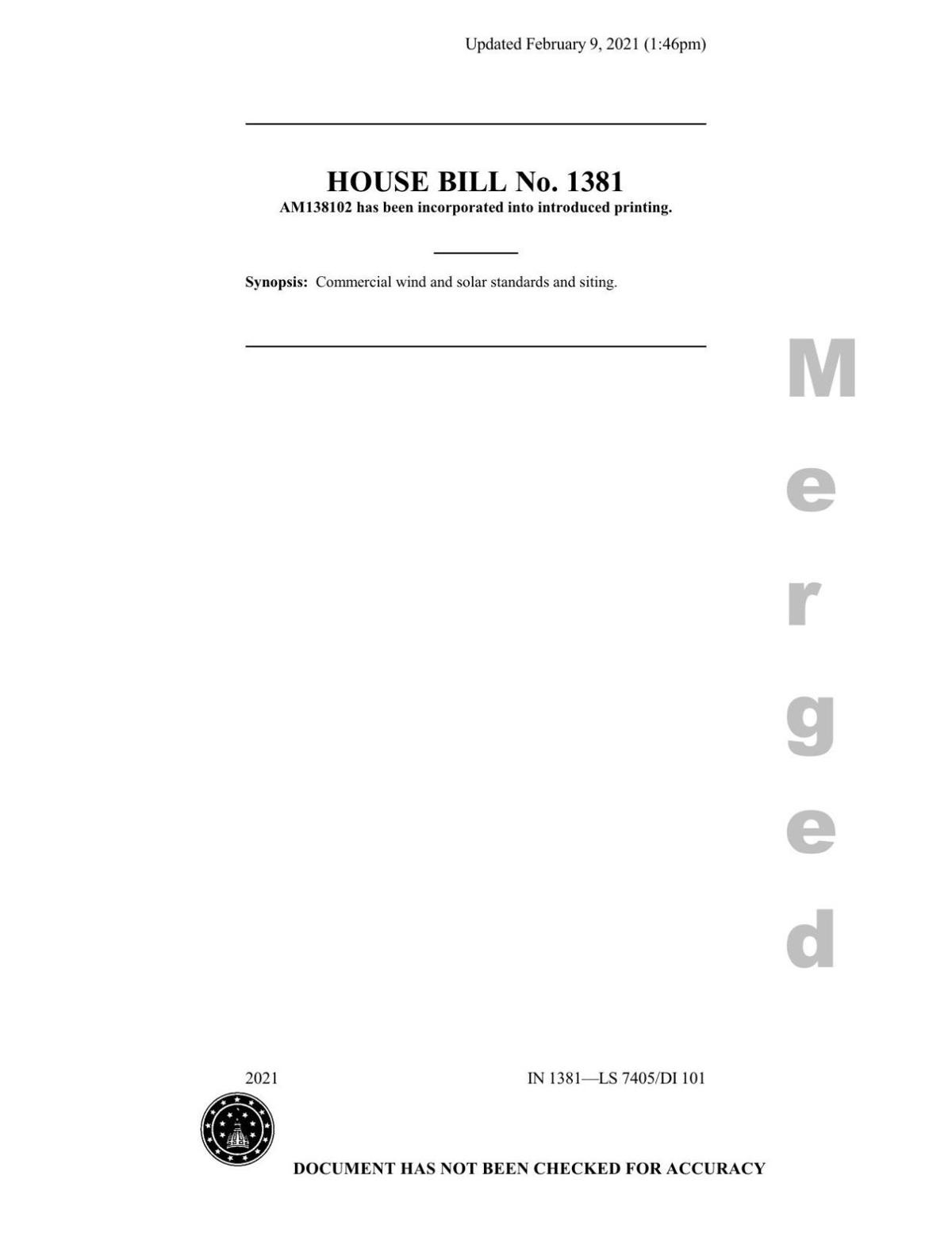 House Bill 1381 as approved Feb. 10, 2021 by the House Utilities, Energy and Telecommunications Committee