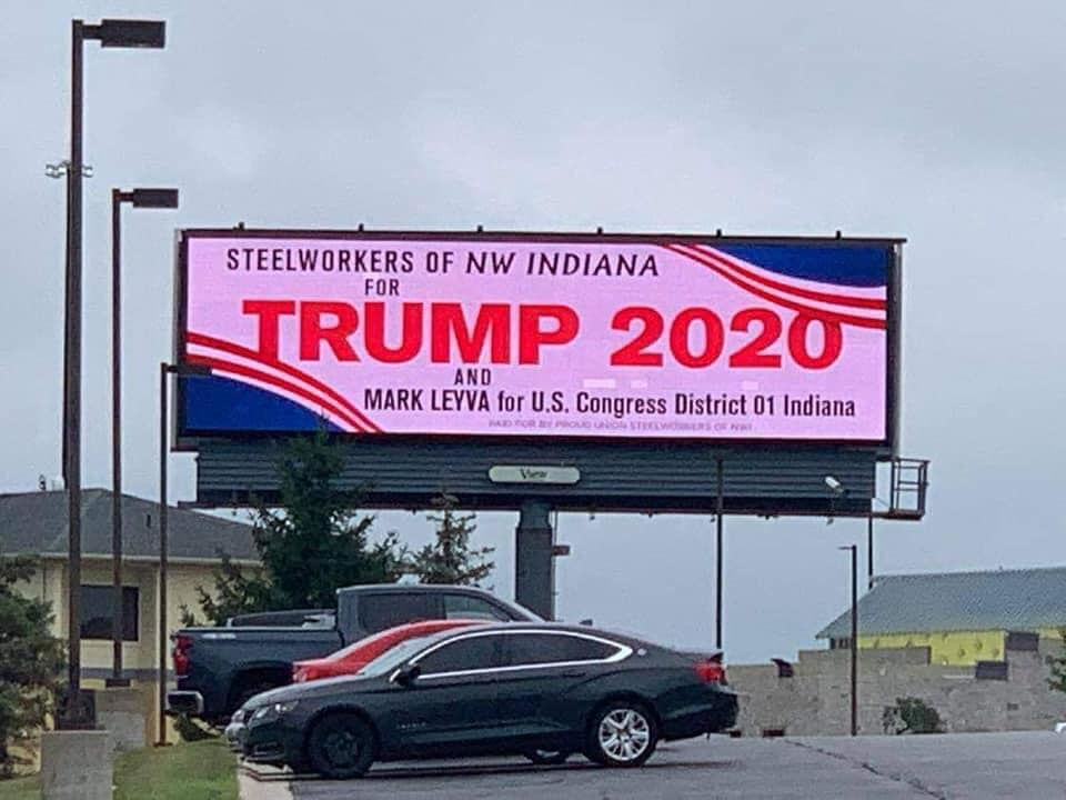 'Steelworkers of NW Indiana' billboards go up supporting Trump that steelworkers union decry as misleading