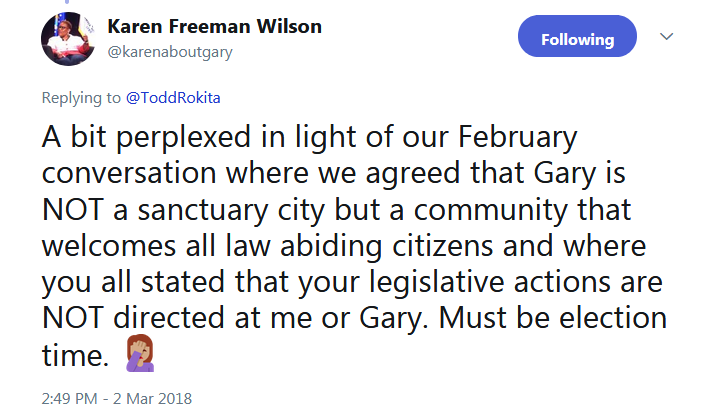 U.S. Senate candidate targets Gary on Twitter, claims it is a 'sanctuary city'