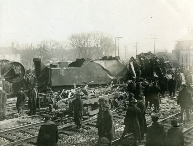 Wreckage from Circus Train Derailment of 1918