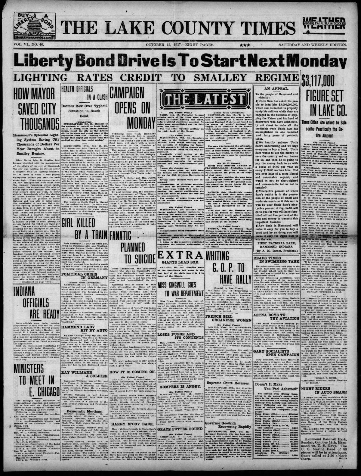 Oct. 13, 1917: Liberty Bond Drive Is To Start Next Monday