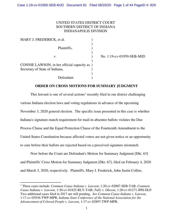 Frederick v. Lawson ruling of U.S. District Court